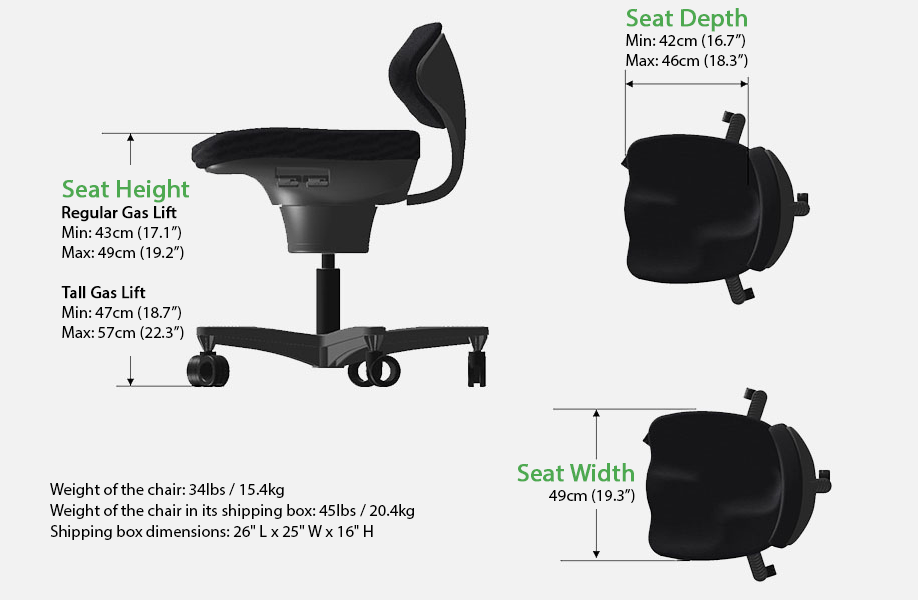 corechair illustration with dimensions and specifications